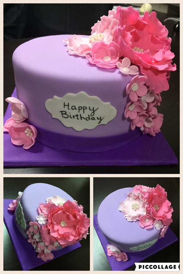 Happy Birthday To A Special Lady Pink And Purple Birthday Cake With
