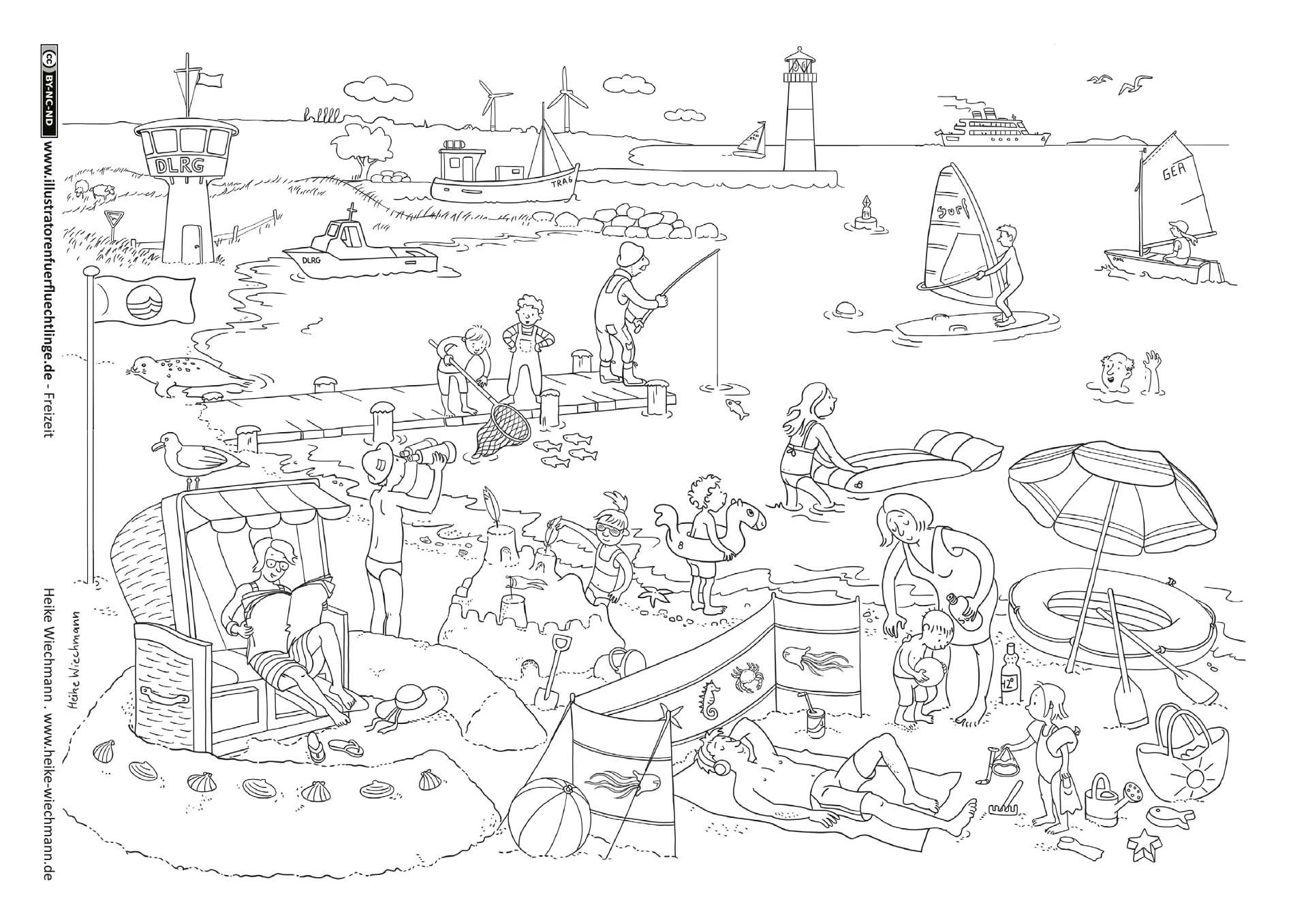 Meer Strand Coloring Pages Coloring Books Picture Illustration