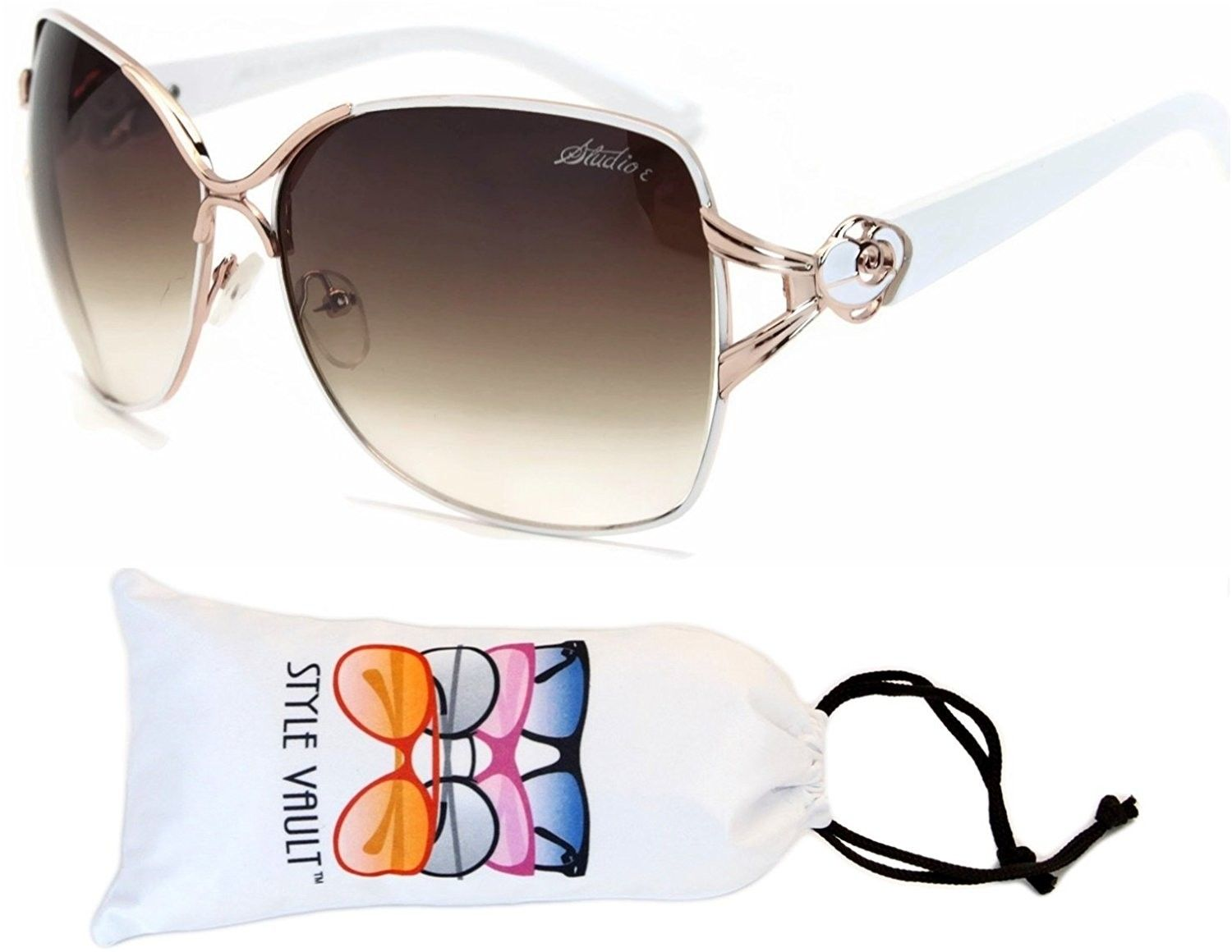 b99cc70e7f V172-vp Polygon Butterfly Sunglasses - T2500h Gold White-brown -  C112EM3D03V -