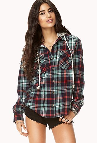 c66ff55a28 Rustic Hooded Plaid Flannel   FOREVER21 - 2000110218 omg i want this ...