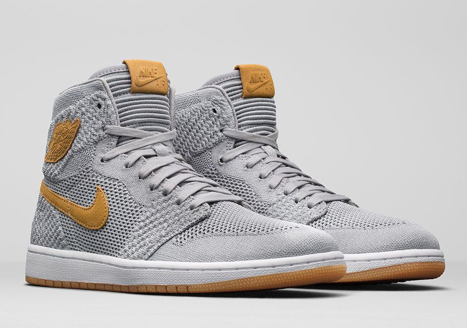 Jordan 1 Flyknit Grey Wheat 919704 025 With Images Air Jordans