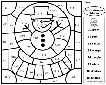 Color By Number Addition Winter 8 Pages December January February Homeschool Programs Math Mystery Picture Winter Math