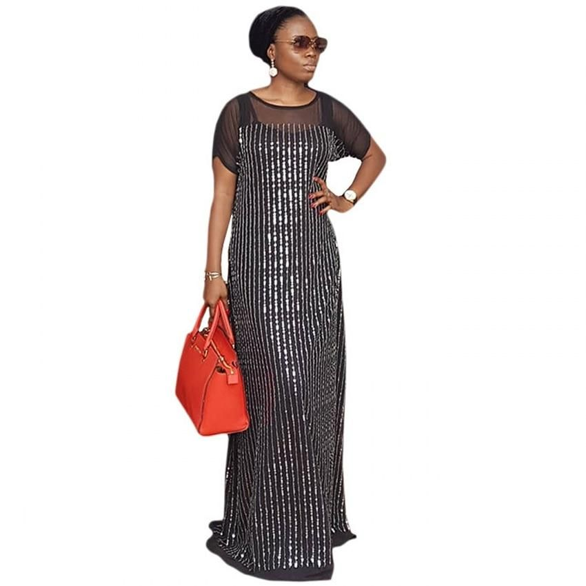 African Dresses For Women Black New African Robe Long Maxi Dress