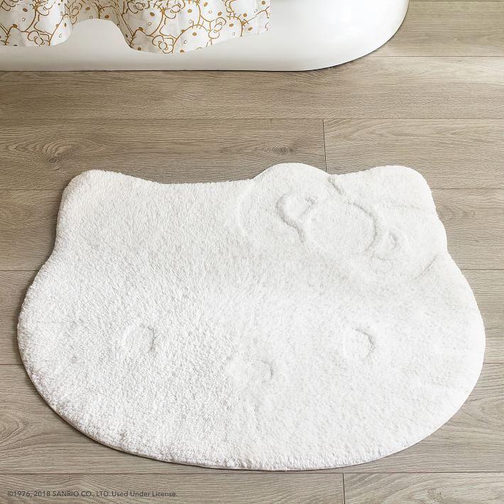 Hello Kitty Shaped White Tufted Cotton Bath Mat Hello