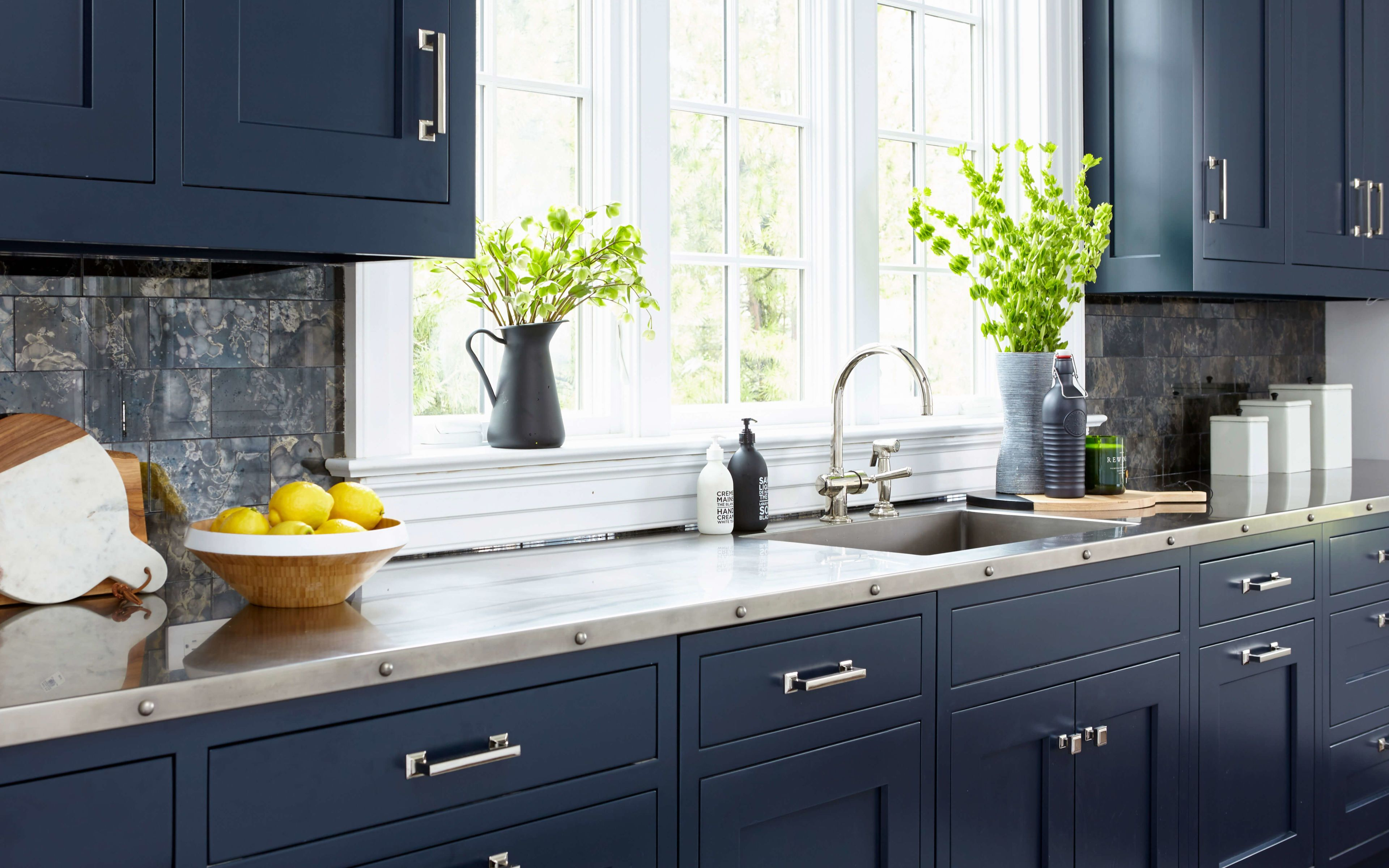 Navy Blue Custom Cabinetry With Stainless Steel Countertop And Sink Large Open Windows To Allo Contemporary Kitchen New Kitchen Cabinets Kitchen Design Trends