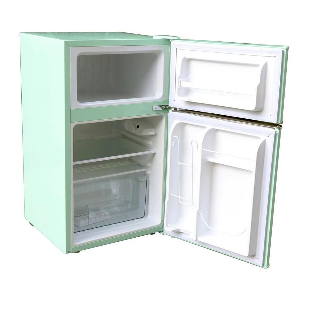 Magic Chef Retro 3 2 Cu Ft 2 Door Mini Fridge In Mint Green Hmcr320me The Home Depot In 2020 Mini Fridge Magic Chef Mini Fridge Cabinet