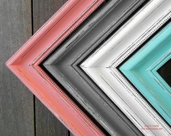 These Are My New Favorite Colors Coral Mint Gray And White Add Some Brown And I Love It Frame Shabby Shabby Chic Frames Shabby Chic Bedrooms