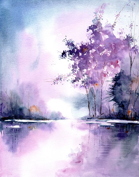 Landscape Art Print From Original Watercolor Painting Purple