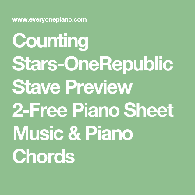 Counting Stars Onerepublic Stave Preview 2 Free Piano Sheet Music