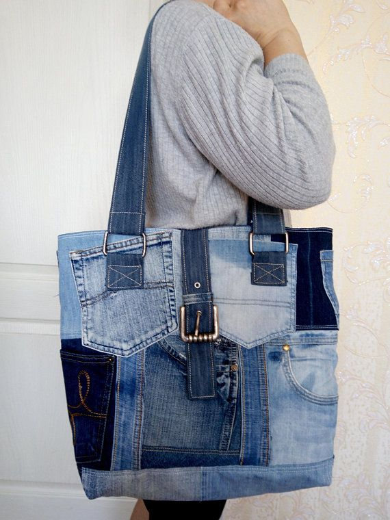 Womens bag of jeans. Stylish bag of recycled jeans. An old jeans. Denim bag with lining. Shoulder bag