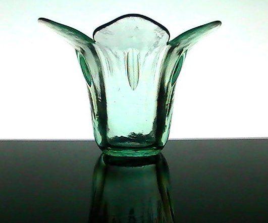 Flared Tulip Green Glass Flower Vase Or Candle Bowl Holder
