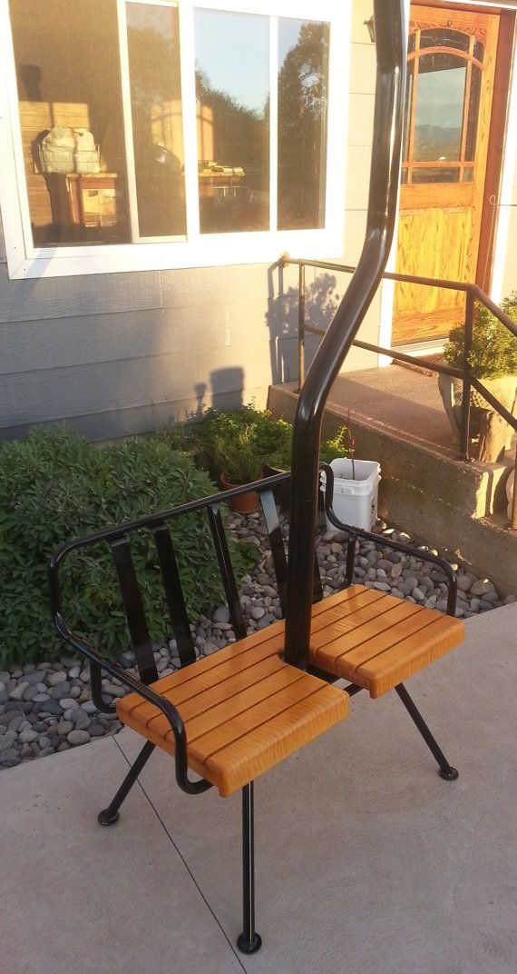 Vintage 60's ski lift chair with legs from by