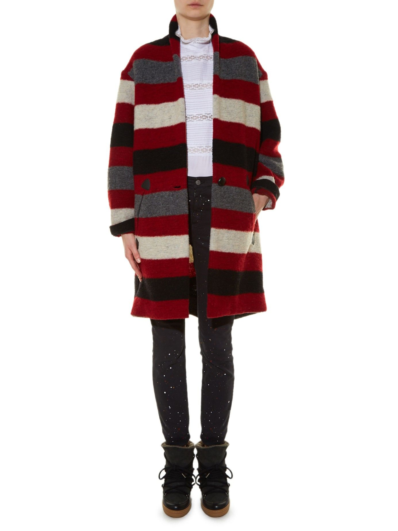 Etoile Isabel Marant Black Gabrie Blanket Striped Coat Stripe Coat Isabel Marant Clothes [ 1846 x 1385 Pixel ]