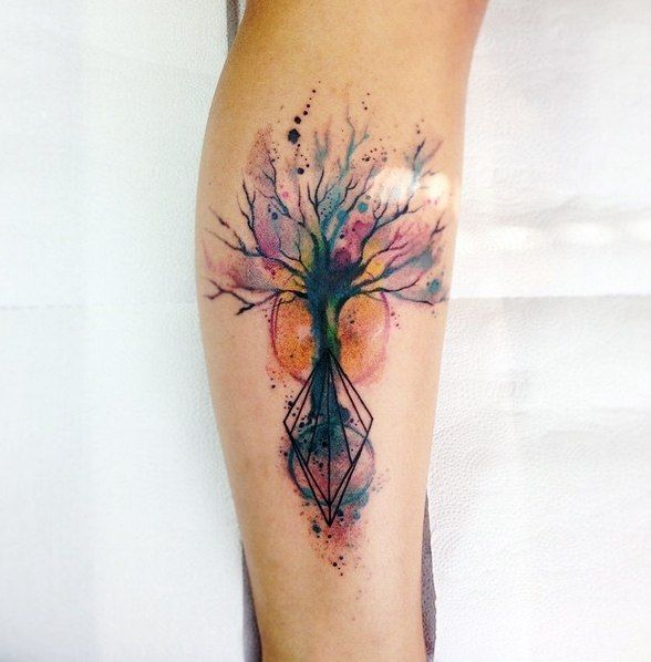 Watercolor Tree Shetch From Paulo Victor Skaz Tatouage Aquarelle