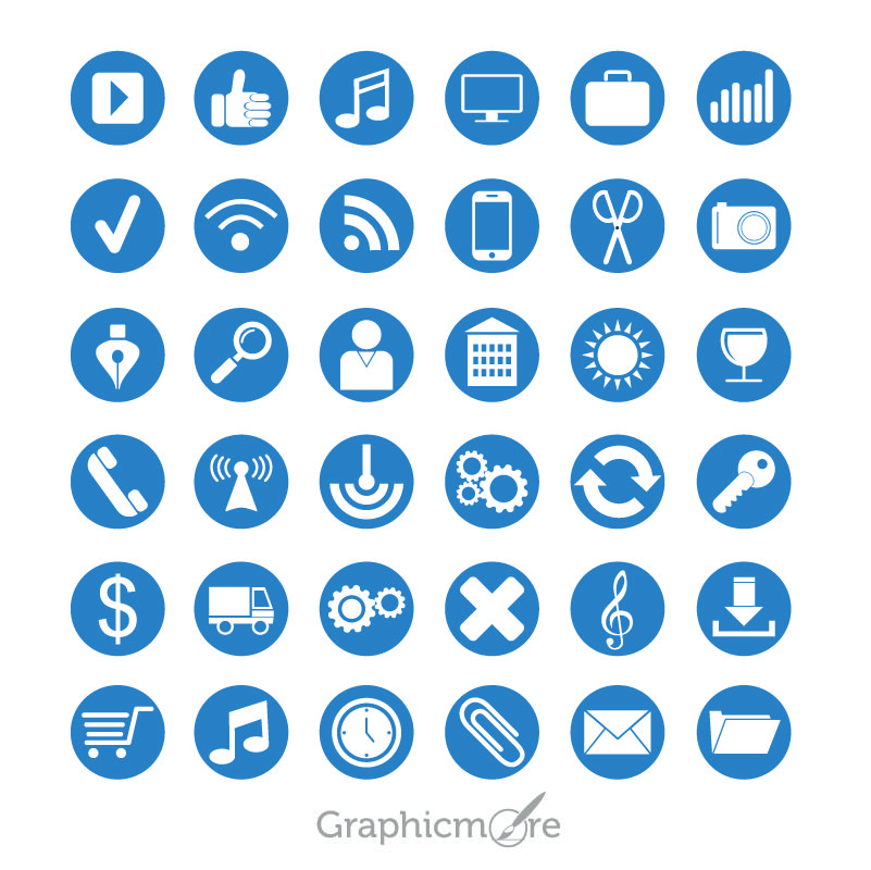 36 Flat Icons Set Design Free Vector File By Graphicmore Icon Set Design Flat Icons Set Icon Set
