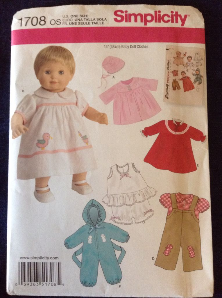 15-Inch Simplicity 1708 Baby Doll Clothes Sewing Pattern