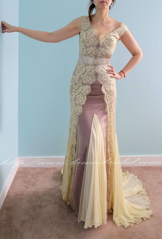 Beautiful One Piece Floor Length Sheath in Gold Lace ideal for Prom ...