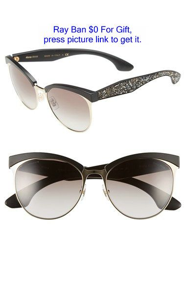 de8e0bc73b Miu miu 56mm Pave Cat Eye Sunglasses in Black (GOLD  BLACK)