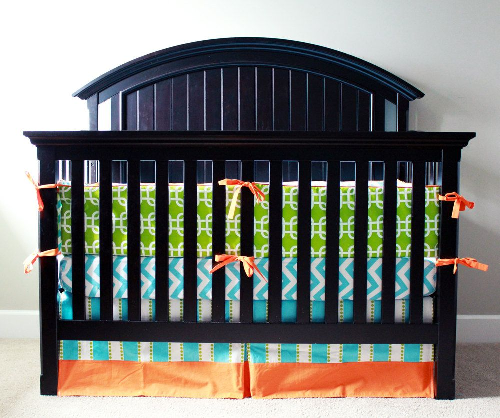 Crib+bedding++Aqua+Lime+Green+and+Orange+by+GiggleSixBaby+on+Etsy,+$323.00