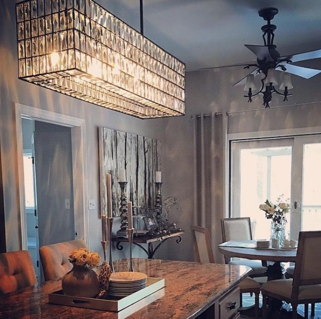 Pretty dining space   pottery barn light above table ...