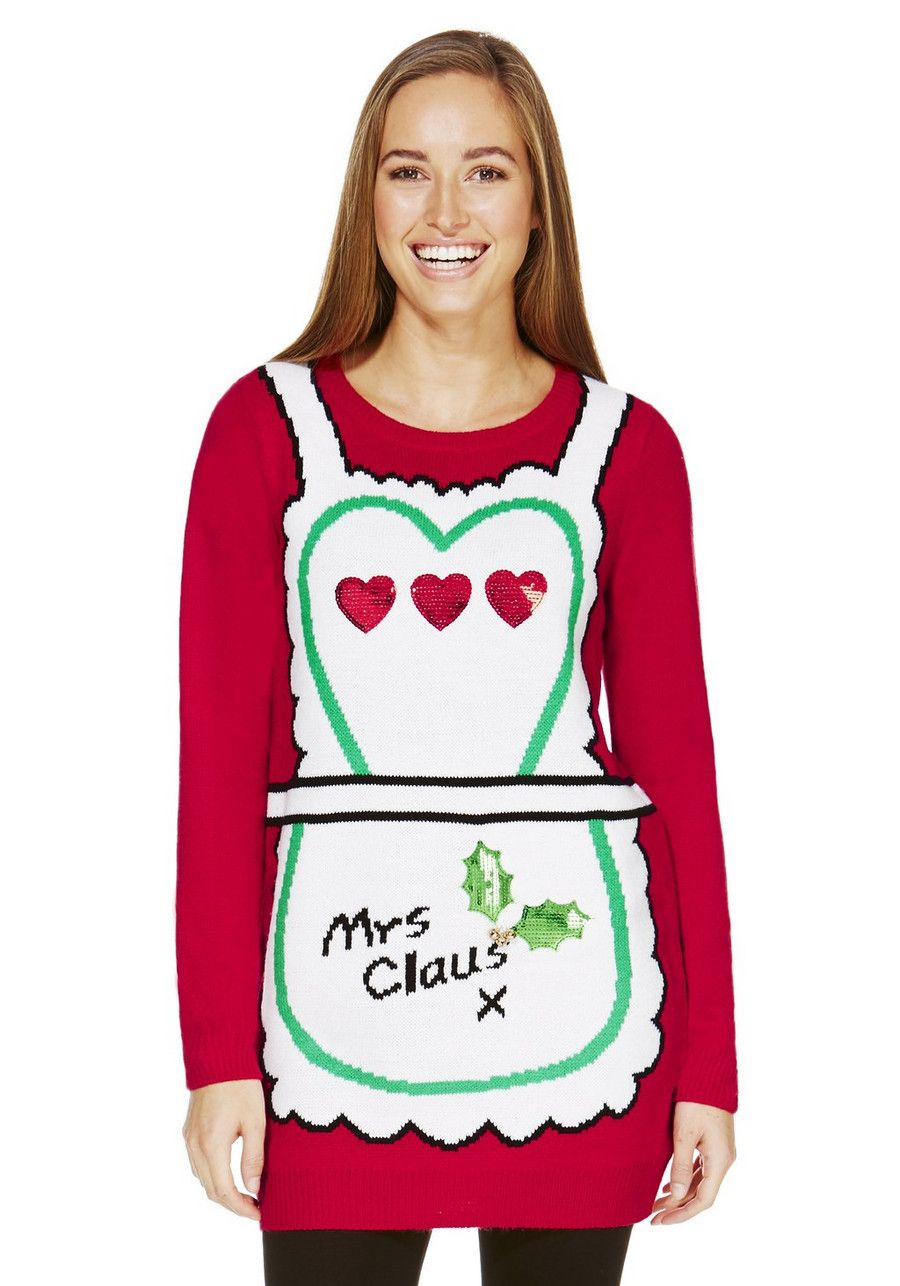 clothing at tesco ff mrs claus long line christmas jumper knitwear womens novelty christmas