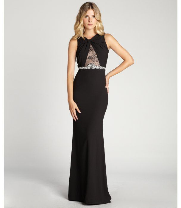 Badgley Mischka black crystal embellished sheer lace detailed cutout back evening gown