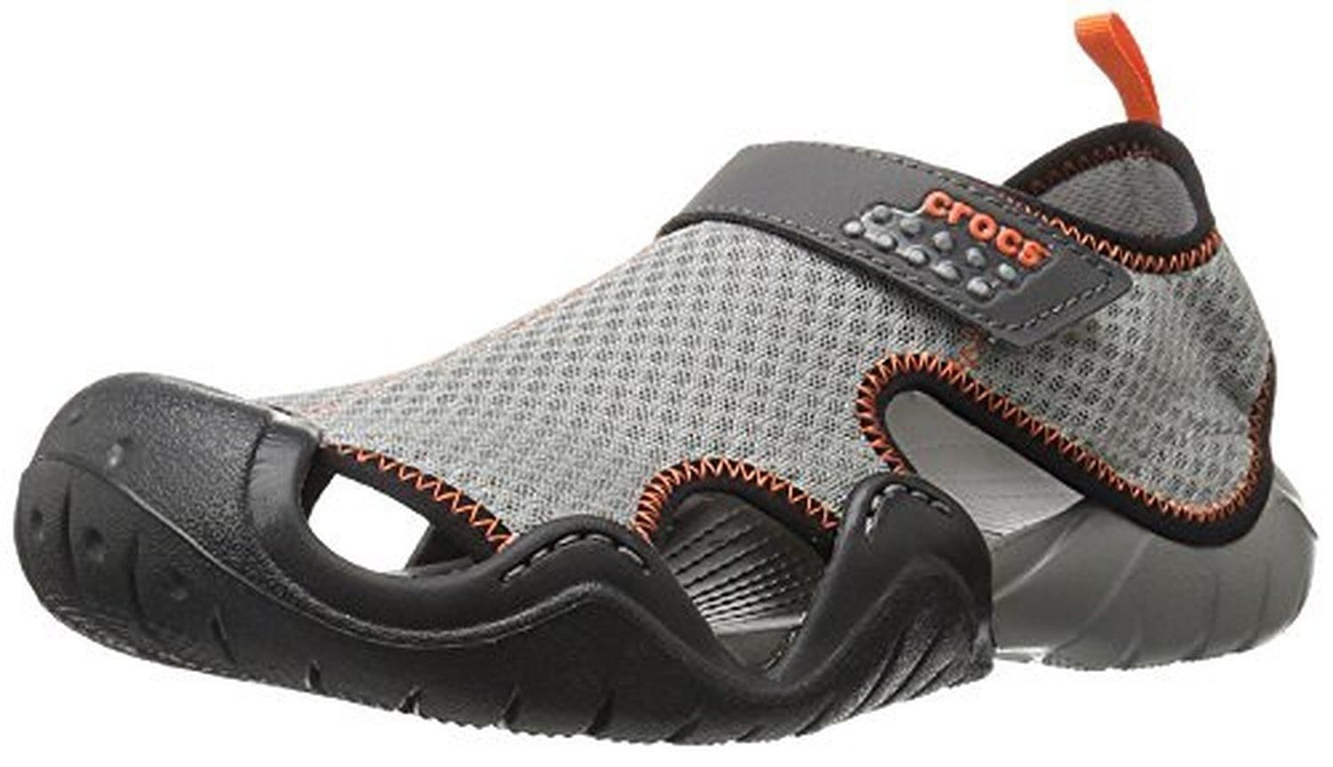200d61dd0c1ff crocs Men's Swiftwater Flat Sandal, Smoke/Graphite, 11 M US - Brought to  you by Avarsha.com