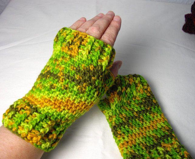 Gloves Crochet Fingerless Green Orange Multi by Simply Charming at Folksy.com