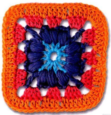 Patrón #1636: Motivo Cuadrado a Ganchillo. #crochet http://blgs.co ...