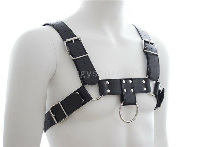 Leather Male Costume Full Men Body Chest Harness Clubwear Black Belts Goth Band