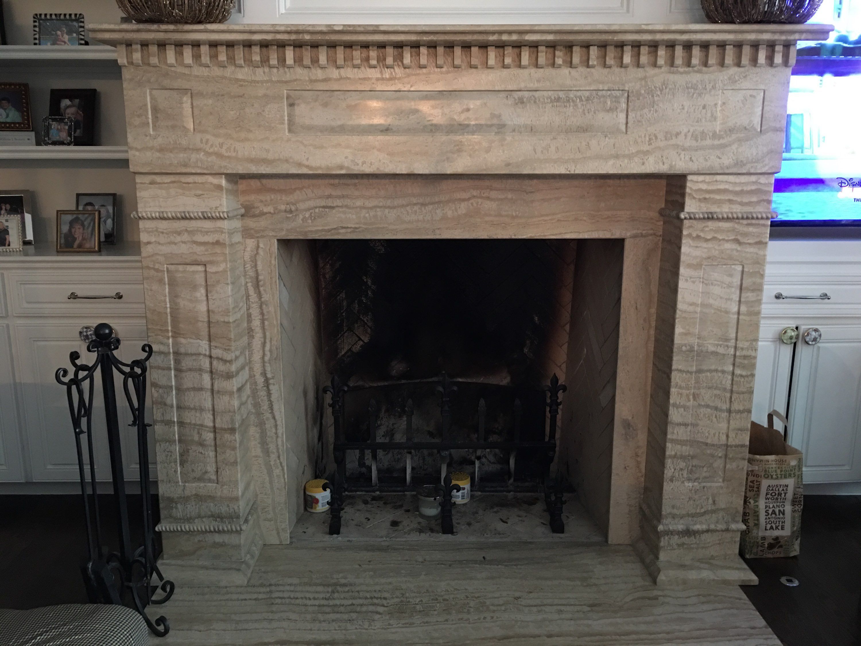 Custom Travertine Chimney Mantle By Omni Marble Inc In Dallas Texas With Images Travertine Custom Stone Home Decor