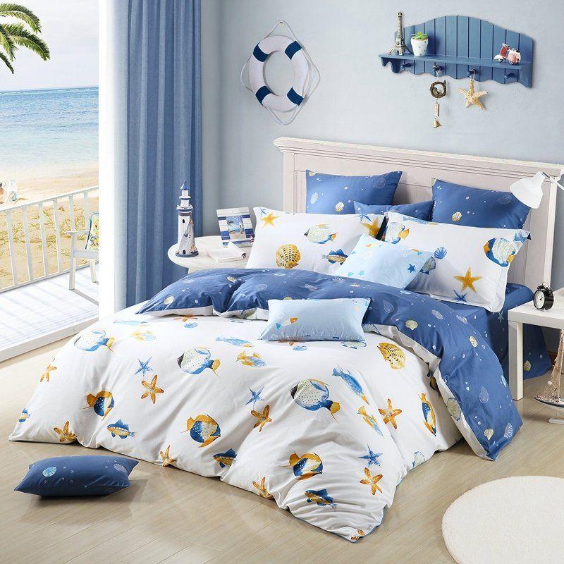 Blue Yellow And White Ocean Themed Fish Seashell Sea Star Print