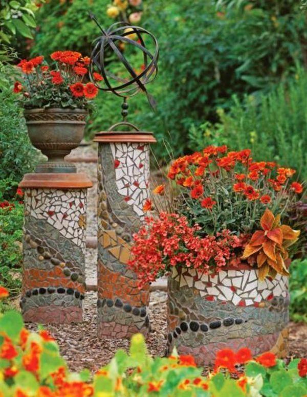 Mosaik Im Garten Http://archzine.de/gartengestaltung/kreative Ideen  Fur Blumentopfe Ihrem Garten/