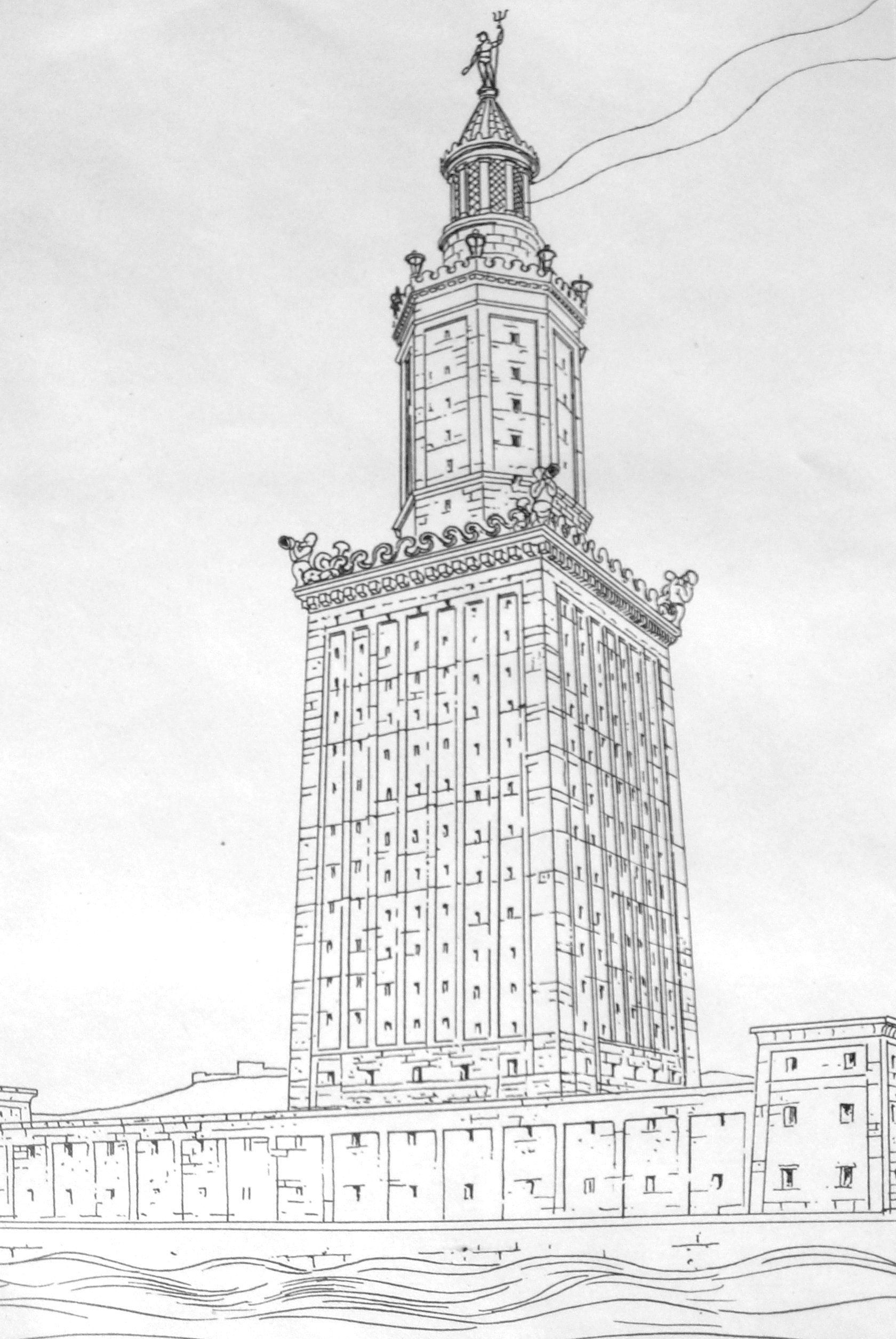 Drawing of the Pharos of Alexandria | The Seven Wonders