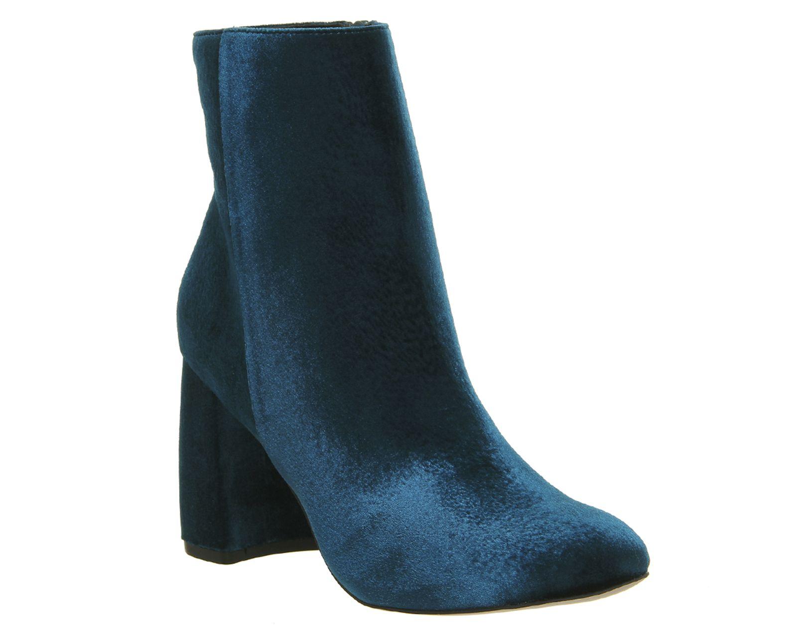Literally High Cut Boots blue velvet office