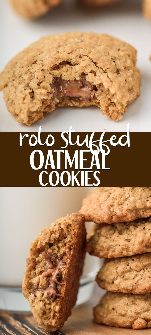 The BEST Oatmeal Cookies are stuffed with ROLOS! Rolo Stuffed Oatmeal Cookies are a family favorite and are such an easy cookie recipe filled with chocolate and caramel in the BEST Oatmeal Cookie! #quickcookierecipes