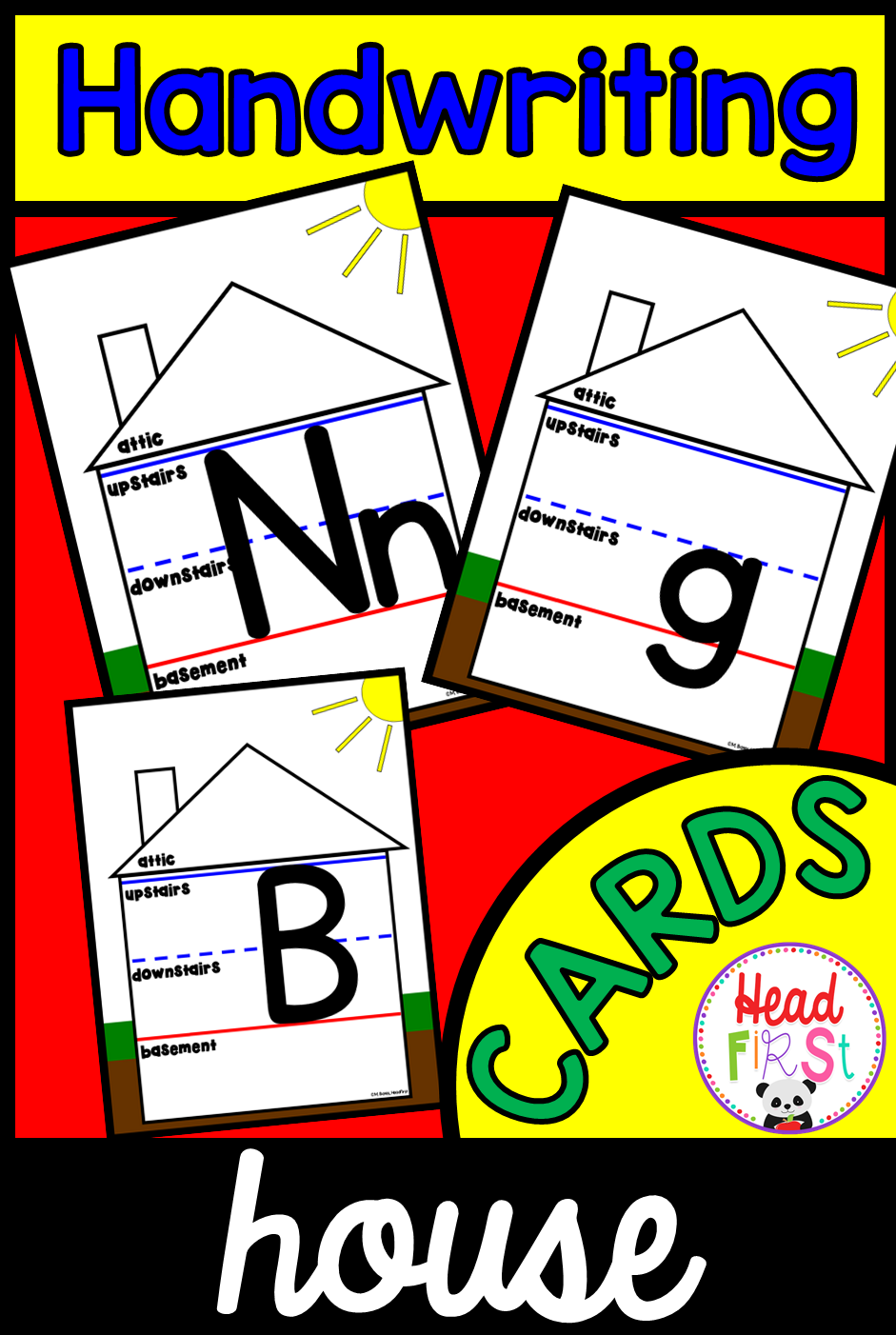 Handwriting House Cards for Letter Placement Upstairs