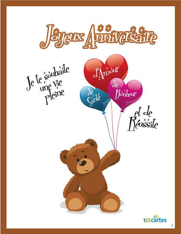 Carte anniversaire pour lui souhaiter un joyeux anniversaire avec une vie pleine d… | Images ...