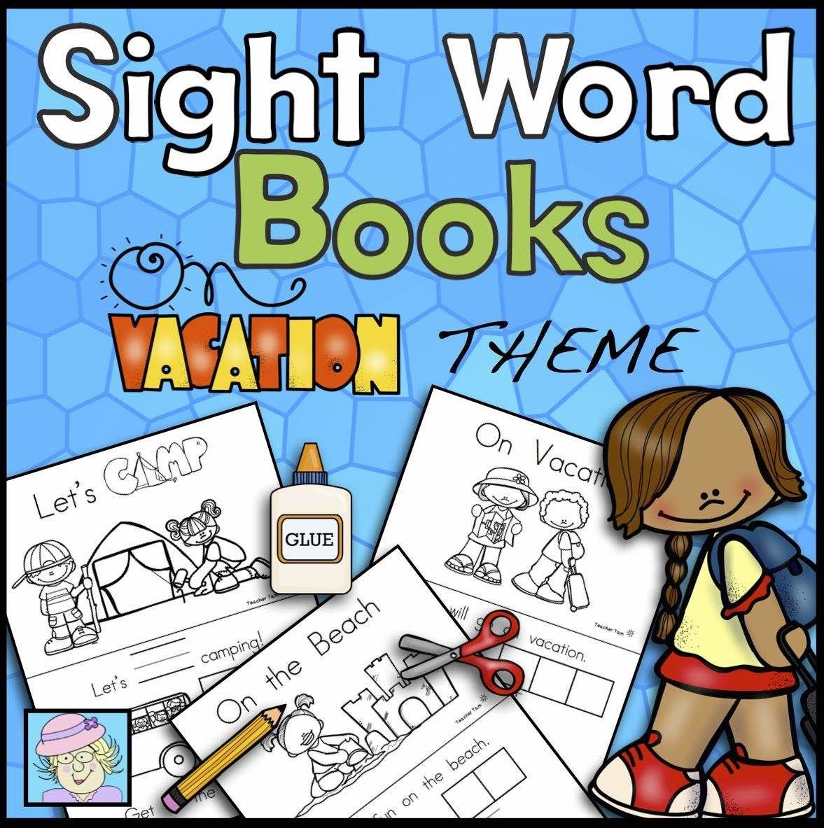 Sight Word Books Vacation Theme Paste Trace And Write