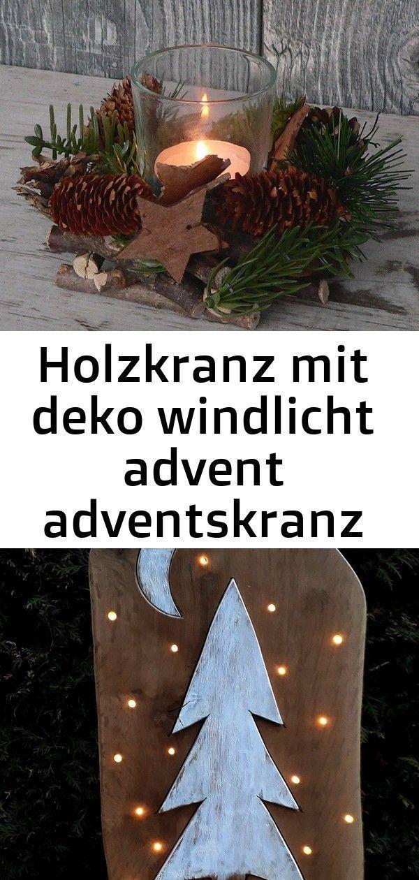 Holzkranz mit dekorativem Windlicht Advent Advent Kranz Weihnachtsholz Glastisch…