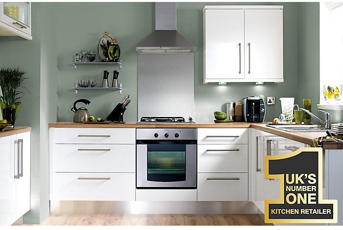 It Gloss White Slab  Kitchen Ranges  Kitchen  Rooms  Diy At Awesome B & Q Kitchen Design Decorating Inspiration