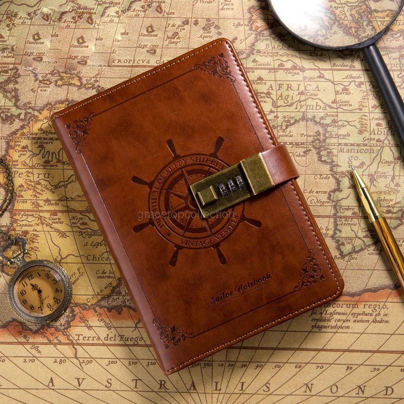 B6 rudder brown leather journal blank diary note book with