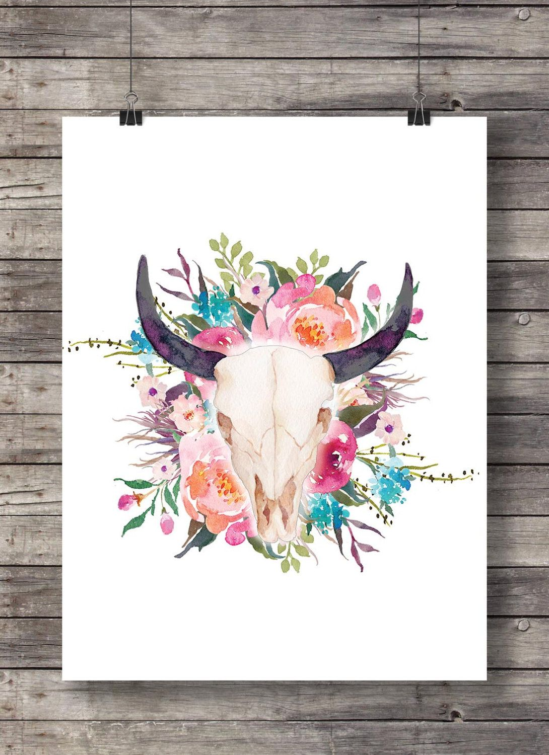 281f5cd750bbbc Watercolor flowers Bull Cow Skull - Printable southwestern floral  watercolor skull wall art - Instant download
