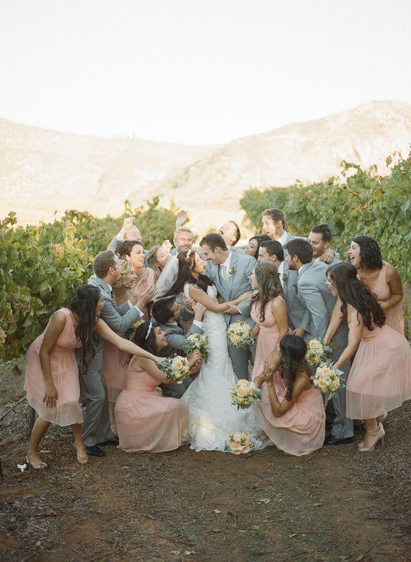 Cute group shot and same wedding color theme