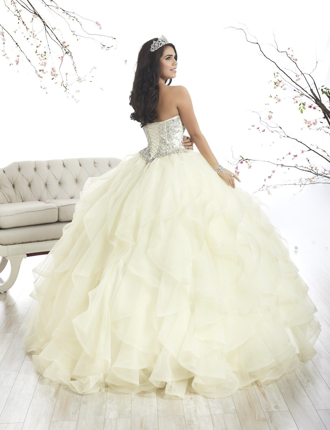 cbb2bbf4424a Strapless Ruffled Quinceanera Dress by House of Wu 26870 – ABC Fashion