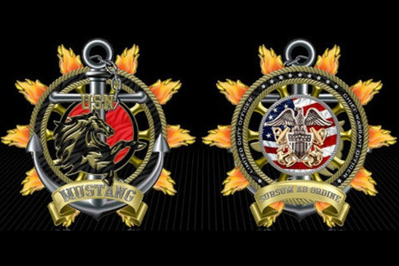 """Navy LDO//CWO Mustang 2"""" Challenge Coin"""
