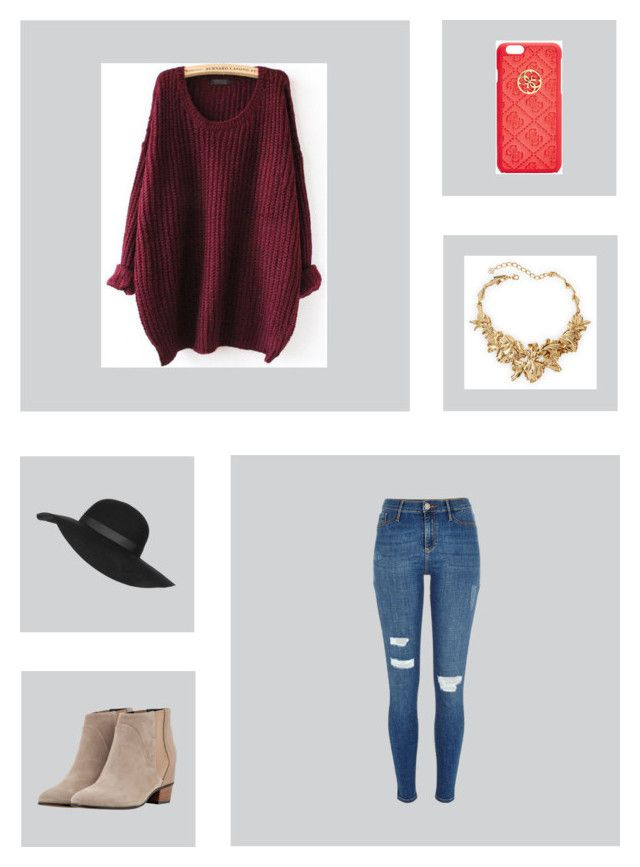 """Untitled #228"" by alyssadesgrange ❤ liked on Polyvore featuring GUESS, Topshop, Oscar de la Renta, River Island, Golden Goose, women's clothing, women, female, woman and misses"