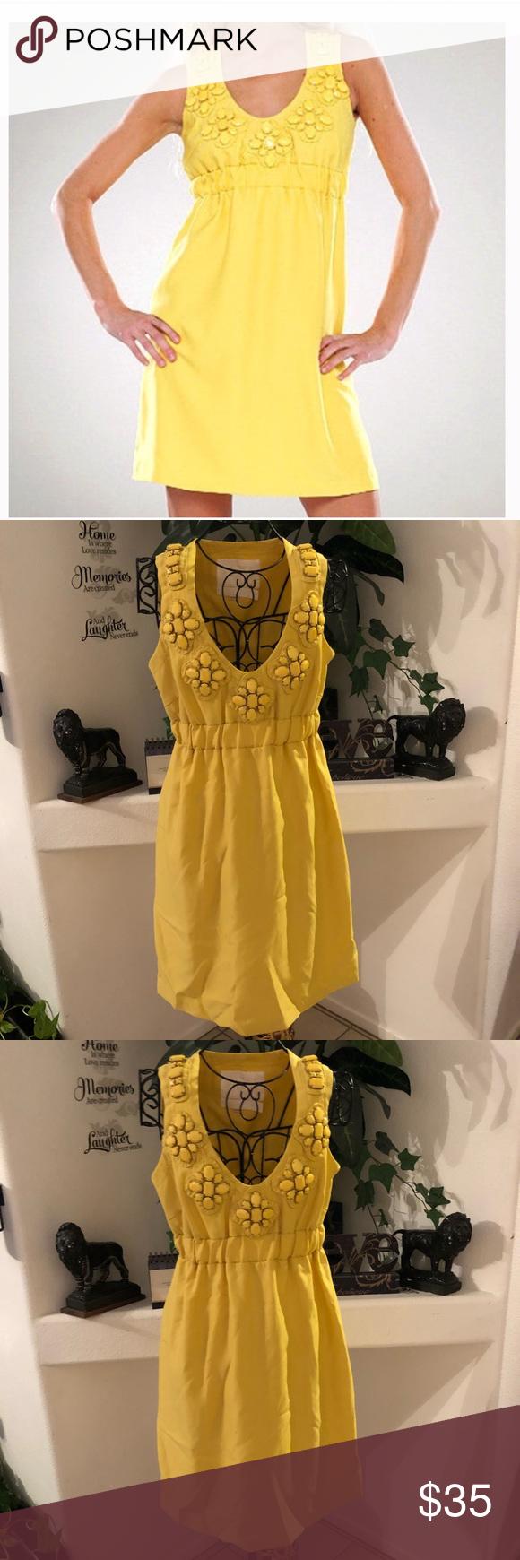 Karta yellow embellished cocktail dress sz small yellow dress