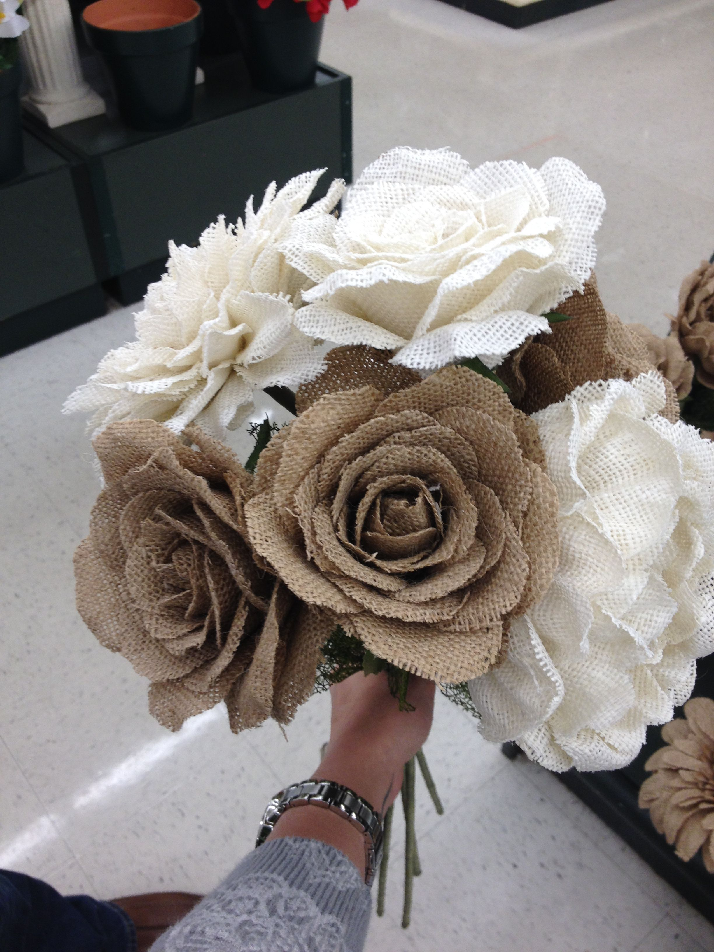 Burlap Flowers Hobby Lobby Wedding Pinterest Diy Wedding