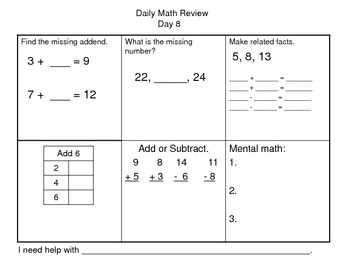 Daily Math Review Packet 12 Days To Practice Missing Addends Missing Numbers Related Facts Input Out Boxes Adding Su Math Review Daily Math Review Daily Math